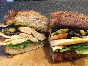 Chicken Bocadillos with Olive Tapenade and Pesto