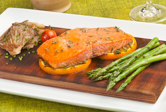 Cedar-Planked King Salmon with Florida Citrus Glaze and Grilled Asparagus