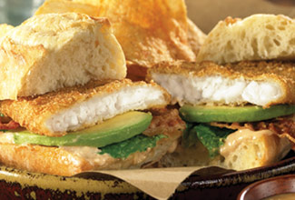 South Paws™ Flounder Fillet Sandwich with Avocado and Bacon