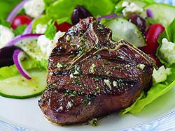 Herbed Greek Lamb Loin Chops with Feta Salad