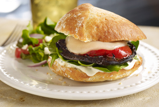 Mediterranean Style Grilled Portobello Sandwich