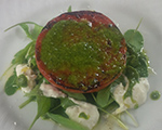 Charred Tomato with Arugula Pesto and Stracciatella
