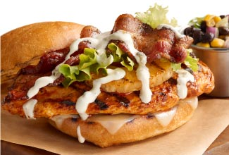 Grilled Chicken Sandwich with Poblano Crema and a Side of Southwest Black Bean Relish