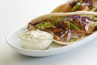 Fish Tacos with Poblano Crema