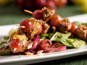 spiced pork grape kebab