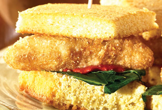 South Paws™ Pangasius Corn Bread Sliders with Roasted Red Peppers and Spinach