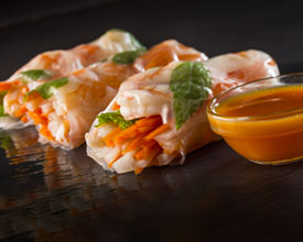Citrus Shrimp Summer Rolls with Florida Orange–Sriracha Dipping Sauce