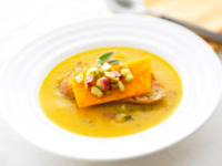 Winter Squash Bisque And Apple-Ham Crostini With Cheddar