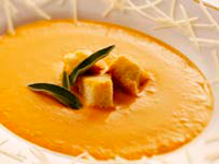Wisconsin Gruyère Cheese and Sweet Potato Soup with Maple Brioche Croutons