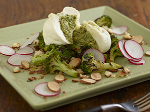Burrata filled with Almond Pesto, Wood Roasted Broccoli, Green Olive Vinaigrette