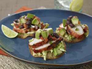 Achiote Grilled Chicken Tostada with Avocado Black Bean Relish