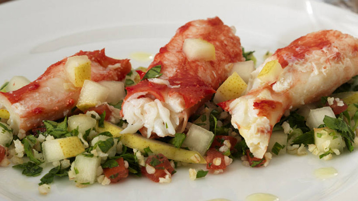 King Crab with Pear Tabbouleh Salad