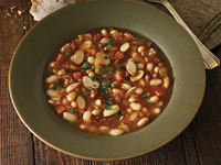 Chorizo, Almond and White Bean Soup