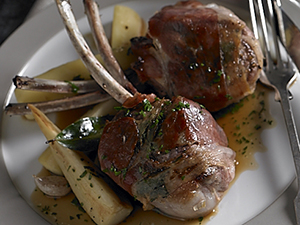 Lamb Chops Saltimbocca with Parsnips and Roasted Jus