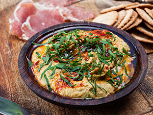 Pistachio Hummus with Benne Crackers