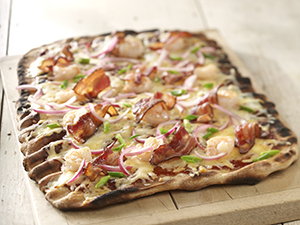 Barbeque Shrimp and Cheese Flatbread