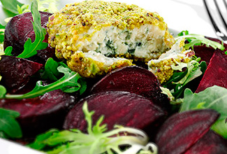 Warm Roasted Beet Salad with Pistachio Encrusted Wisconsin Blue Cheese