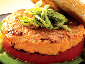 Bloody Mary Salmon Burger