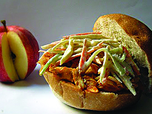 Apple cider chicken sliders with apple-veggie slaw