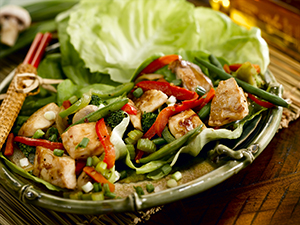 Fish Stir-Fry in Lettuce Cups