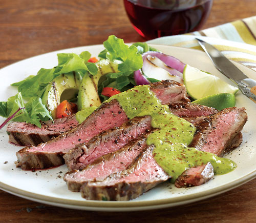 Marinated Flank Steak with Avocado Chimichurri Sauce