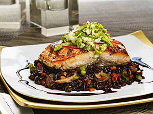 Grilled Salmon with Purple Rice Stir Fry and Napa Slaw