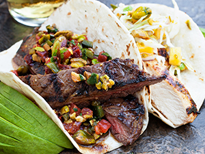 Grilled Skirt Steak Tacos with Smoked Pistachio Chipotle Salsa