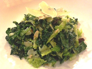 Green Kale Salad with Toasted Almonds and Yuzu Vinaigrette