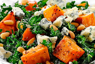 Kale, Kabocha and Wisconsin Gorgonzola Salad