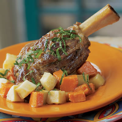 Braised Curried Lamb Shanks with Yucca