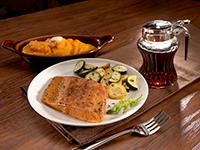 Pan-Sear Maple Cedar Salmon with Sweet Potatoes & Squash