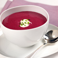 Blueberry Bisque with Chive-Crème Fraiche