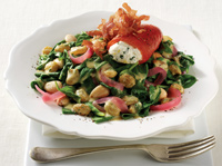 Spinach Salad with Crispy Prosciutto, Pickled Red Onion, California Golden Raisins and Chèvre-stuffed Piquillo Peppers