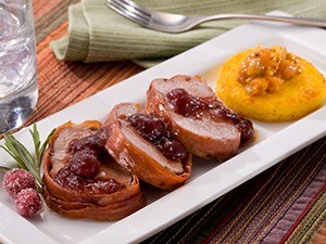 Pancetta-Wrapped Pork Tenderloin with Polenta