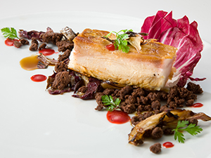 Pheasant with Cranberry Gel, Braised Radicchio and Black Cardamom Streusel