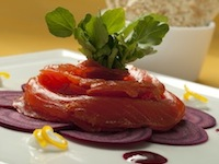 Florida Citrus and Vodka-Cured Salmon with Florida Orange and Beet Vinaigrette