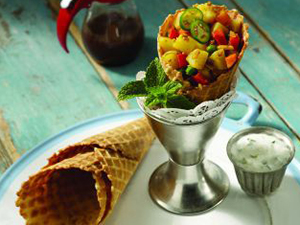 Savory Curry Cone with Samosa Potato Salad