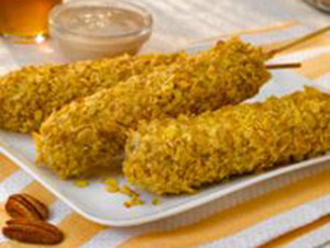 Sage Honey and Cornflake Crusted Chicken Apple Sausage on a Stick