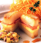 "Scallop, Ham and Pineapple ""Sandwich"""