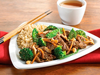 Seared Asian Beef with Spicy Toasted Sesame Stir-Fried Vegetables and Cashews