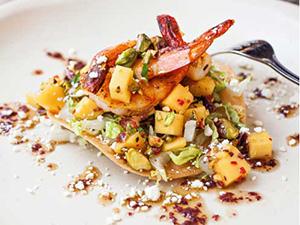 Low-Country Shrimp Tostada With Mango Pistachio Salsa