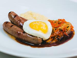 Venison Sausage with Creamy Polenta