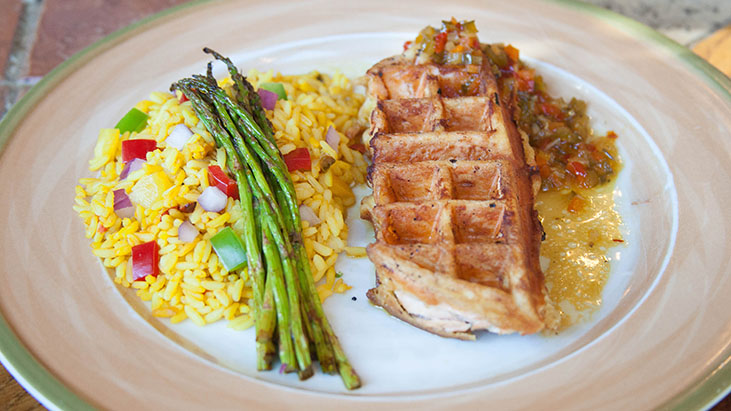 Waffled Salmon with Spicy Orange Maple Sauce