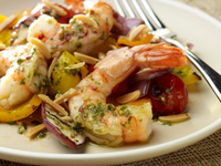 Almond and Garlic Shrimp with Grilled Summer Ratatouille and Basil Pesto
