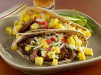 Apricot Chili Marinated Lamb Tacos with Fresh Mango Jicama Slaw