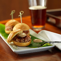 Bacon and Blue Cheese Sliders with Pear