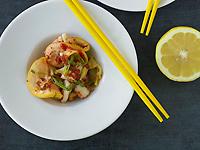 Lemon Kimchi with Korean Red Chili Sauce and Charred Scallions