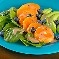Spinach Salad with Chilean Clementines, Blueberries, Avocado and Orange Vinaigrette