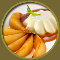 Tarragon Panna Cotta with Pear Caramel