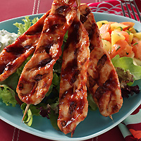 BBQ Turkey Skewers with Cucumber Mint Dressing and Tropical Fruit Salad